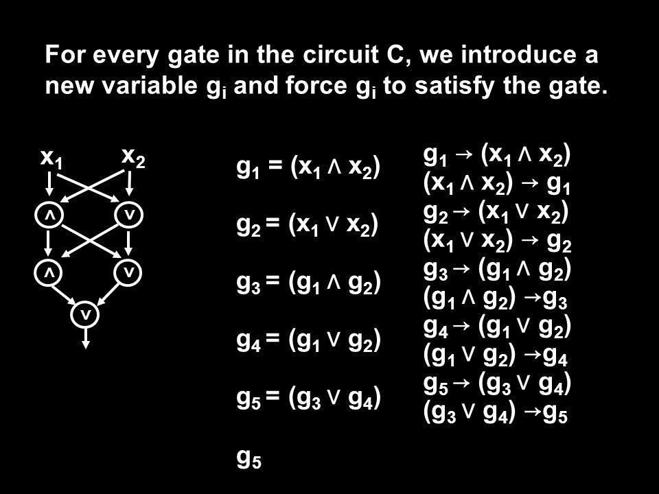 x1x1 x2x2 For every gate in the circuit C, we introduce a new variable g i and force g i to satisfy the gate.