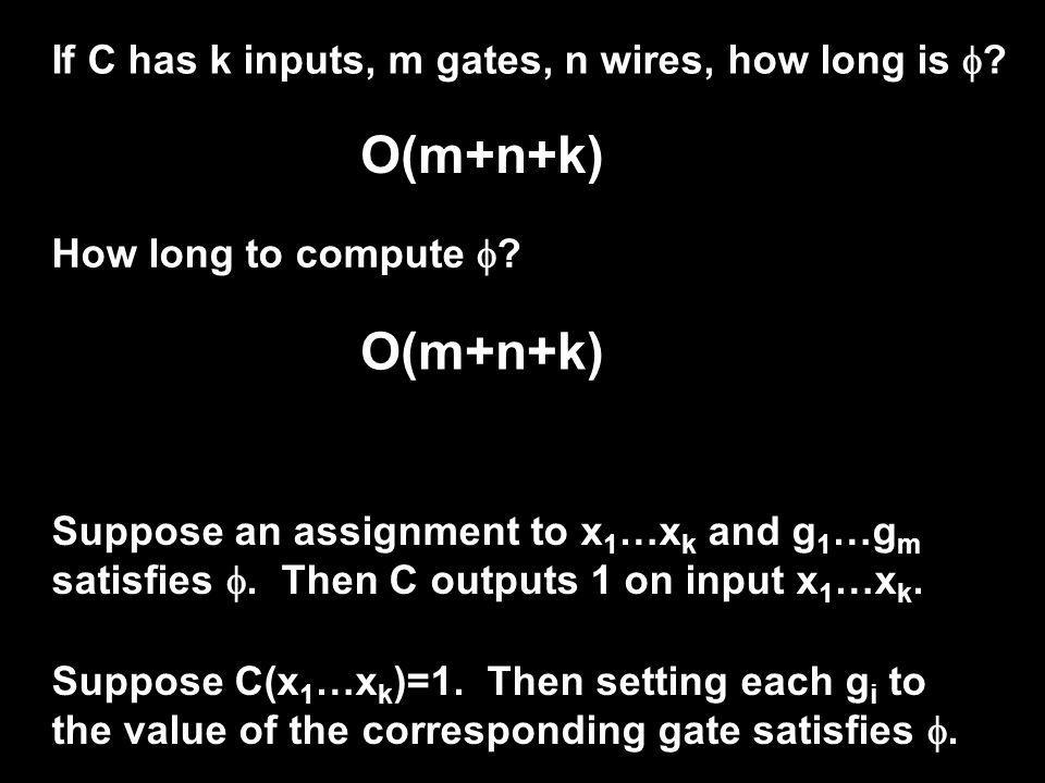 If C has k inputs, m gates, n wires, how long is .