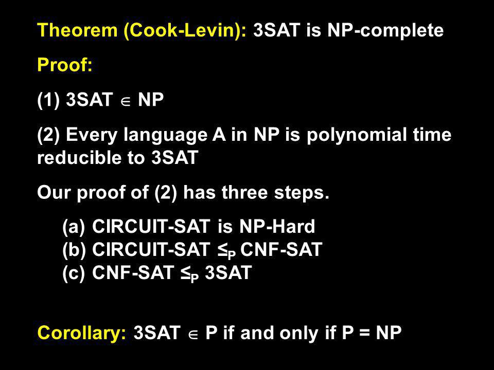 Theorem (Cook-Levin): 3SAT is NP-complete Proof: (1) 3SAT NP (2) Every language A in NP is polynomial time reducible to 3SAT Our proof of (2) has three steps.