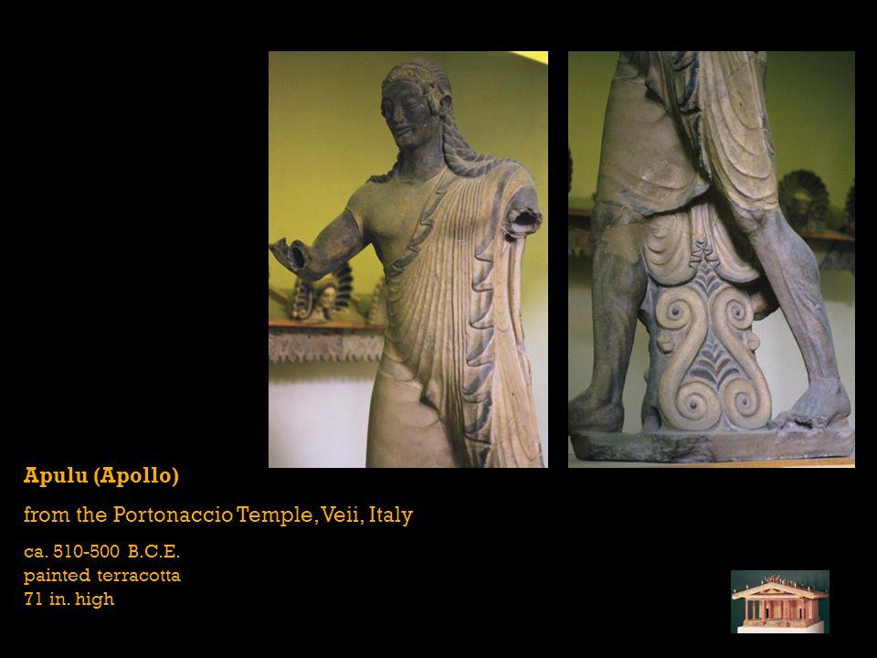Apulu (Apollo) from the Portonaccio Temple, Veii, Italy ca. 510-500 B.C.E. painted terracotta 71 in. high