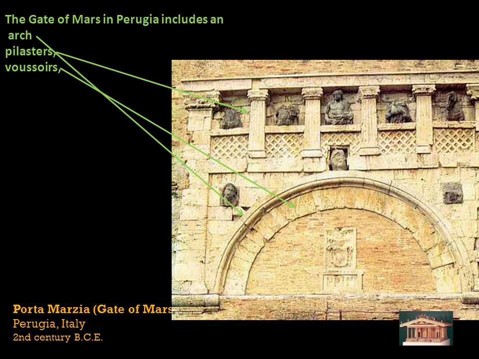 Porta Marzia (Gate of Mars) Perugia, Italy 2nd century B.C.E. The Gate of Mars in Perugia includes an arch pilasters, voussoirs,