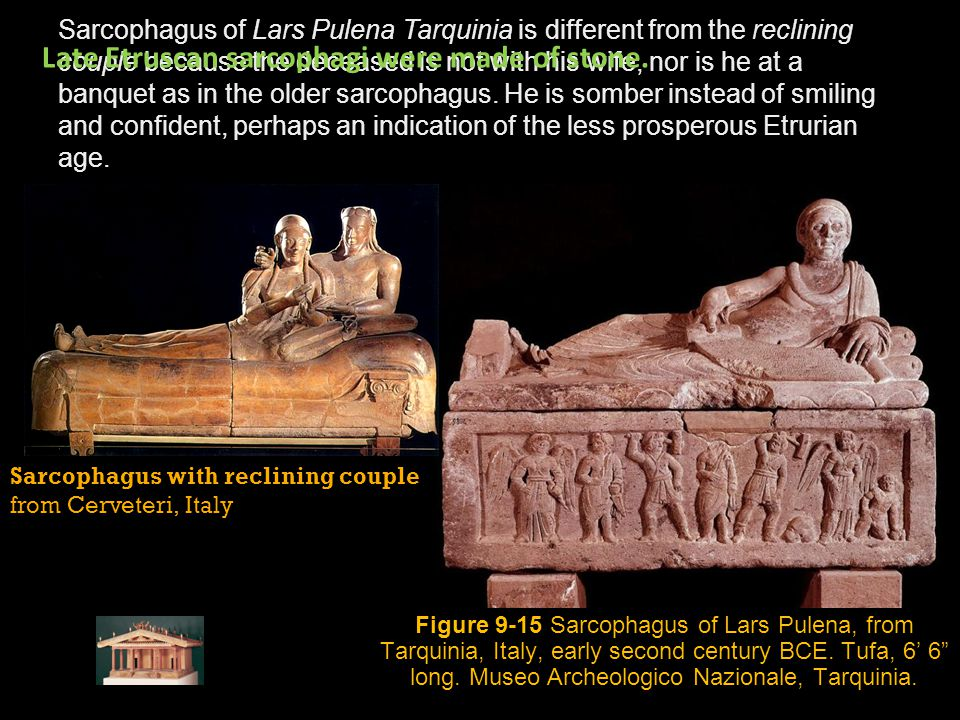 Sarcophagus with reclining couple from Cerveteri, Italy Sarcophagus of Lars Pulena Tarquinia is different from the reclining couple because the deceas