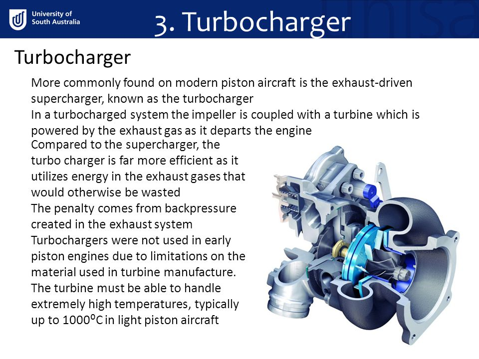 3. Turbocharger Turbocharger More commonly found on modern piston aircraft is the exhaust-driven supercharger, known as the turbocharger In a turbocha