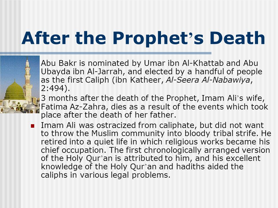Caliphate 25 years elapsed, and after the death of the third caliph, Uthman, Imam Ali was put under pressure by the Muslims to become the new caliph.