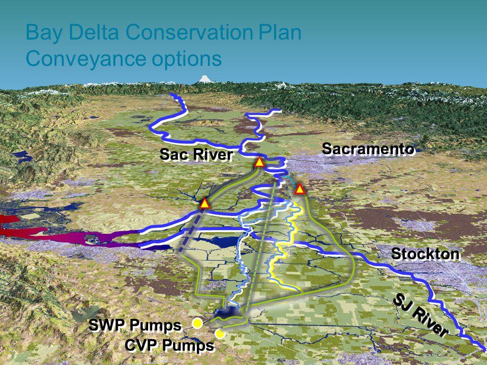 38 SJ River SWP Pumps CVP Pumps Sac River Stockton Sacramento Bay Delta Conservation Plan Conveyance options