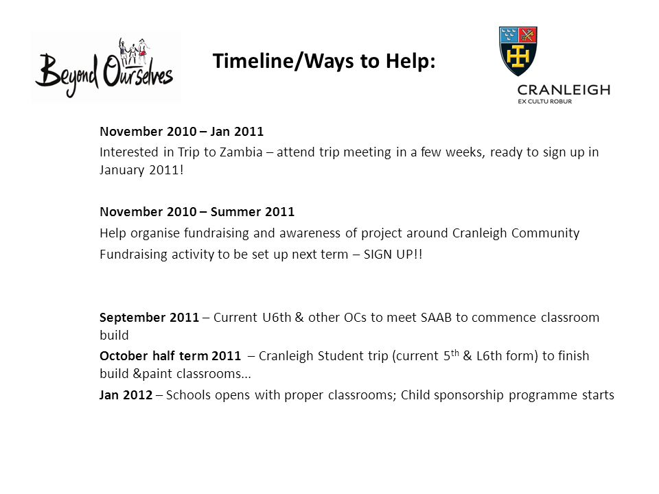 Timeline/Ways to Help: November 2010 – Jan 2011 Interested in Trip to Zambia – attend trip meeting in a few weeks, ready to sign up in January 2011.