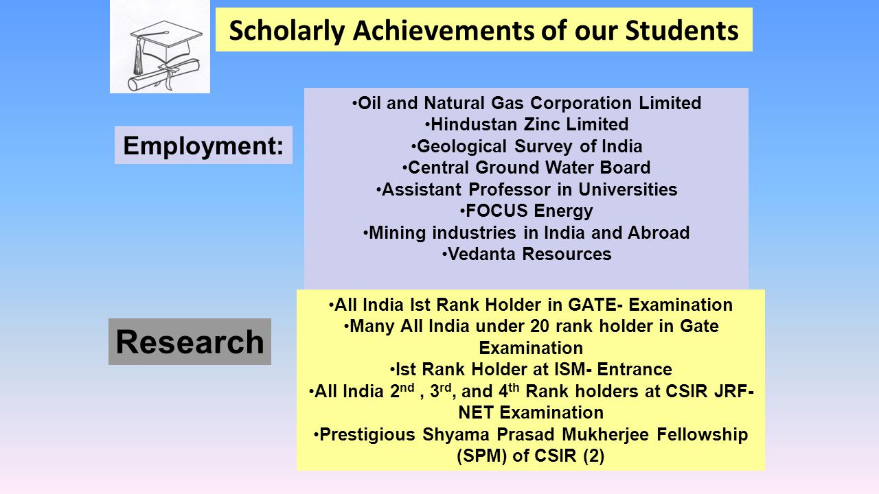 Scholarly Achievements of our Students Employment: Oil and Natural Gas Corporation Limited Hindustan Zinc Limited Geological Survey of India Central G