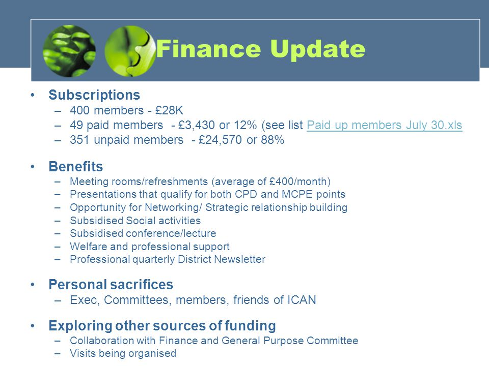 Finance Update Subscriptions –400 members - £28K –49 paid members - £3,430 or 12% (see list Paid up members July 30.xlsPaid up members July 30.xls –351 unpaid members - £24,570 or 88% Benefits –Meeting rooms/refreshments (average of £400/month) –Presentations that qualify for both CPD and MCPE points –Opportunity for Networking/ Strategic relationship building –Subsidised Social activities –Subsidised conference/lecture –Welfare and professional support –Professional quarterly District Newsletter Personal sacrifices –Exec, Committees, members, friends of ICAN Exploring other sources of funding –Collaboration with Finance and General Purpose Committee –Visits being organised
