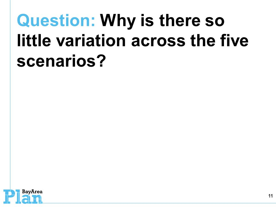 Question: Why is there so little variation across the five scenarios? 11