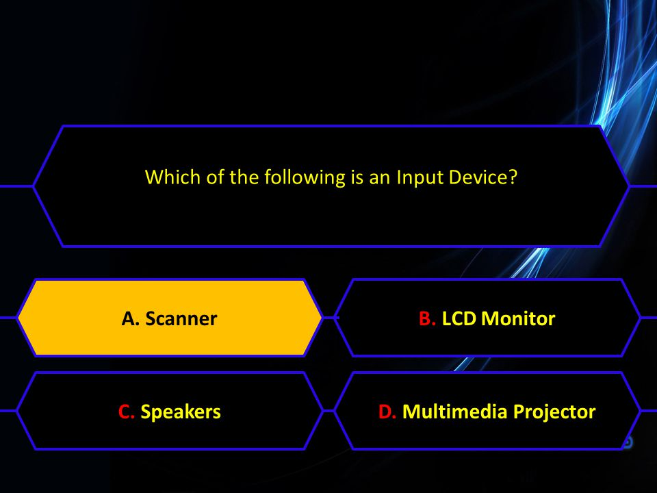 Which of the following is an Input Device? A. ScannerB. LCD MonitorC. SpeakersD. Multimedia ProjectorA. Scanner