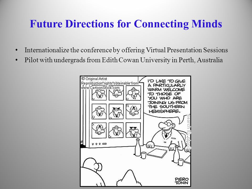 Future Directions for Connecting Minds Internationalize the conference by offering Virtual Presentation Sessions Pilot with undergrads from Edith Cowan University in Perth, Australia 33