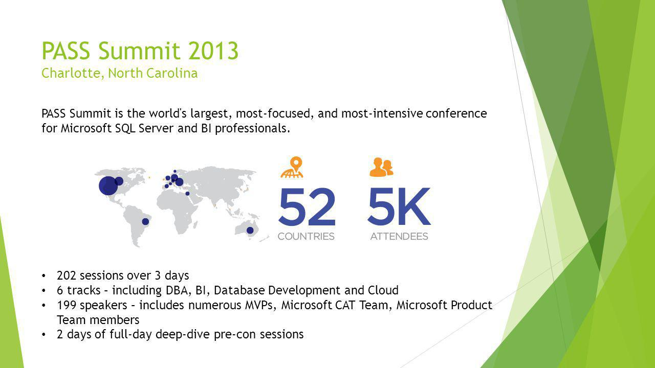 PASS Summit 2013 Charlotte, North Carolina PASS Summit is the world s largest, most-focused, and most-intensive conference for Microsoft SQL Server and BI professionals.