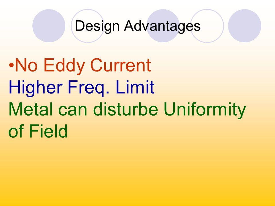 Design Advantages No Eddy Current Higher Freq. Limit Metal can disturbe Uniformity of Field