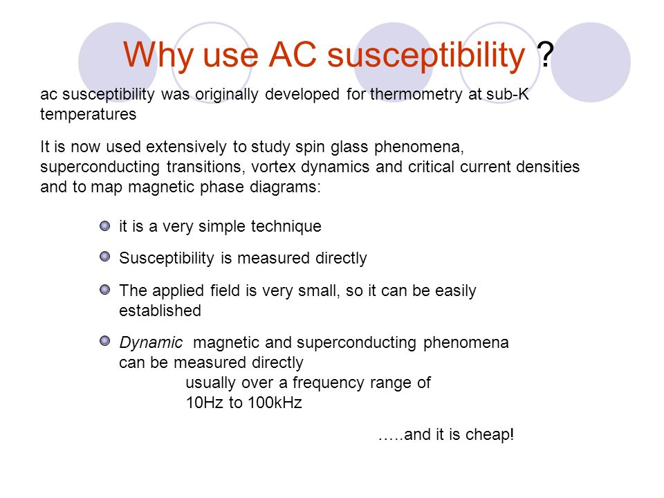 Non-linear complex AC susceptibility Flux density (Tesla) Magnetic field A.m -1 Volume magnetisation A.m -1 where is the susceptibility However in a sinusoidally modulated magnetic excitation field H(t) the volume magnetisation M v will also be time dependent So, if H(t) =H ac Im(e i t ) = H ac sin( t) the time dependent volume magnetisation M v (t) can be expanded as a Fourier series of the non-linear complex AC susceptibility giving