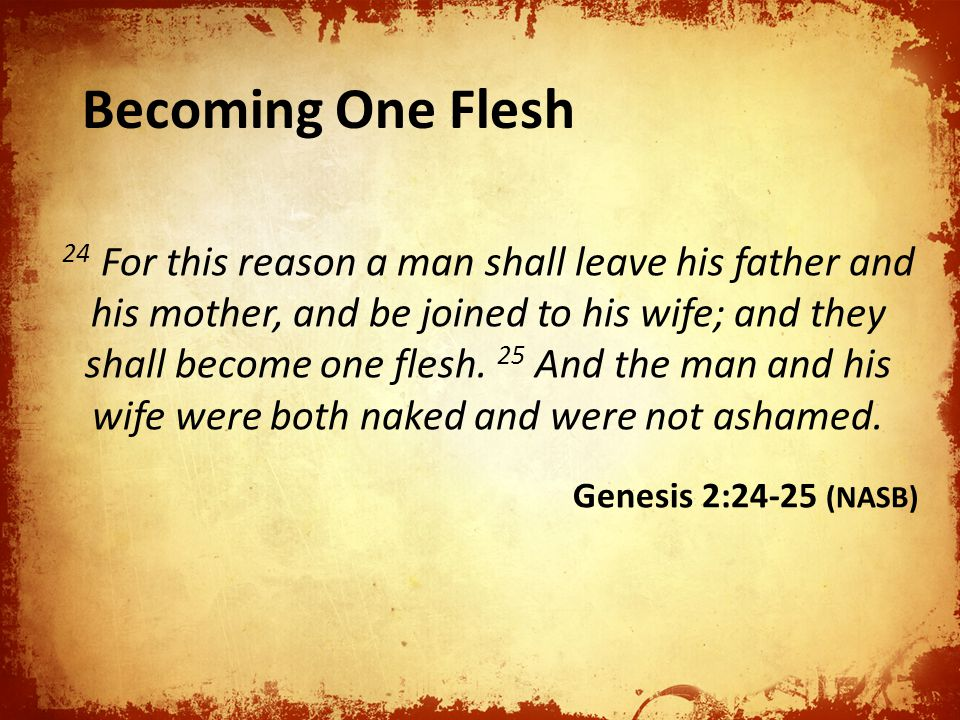 24 For this reason a man shall leave his father and his mother, and be joined to his wife; and they shall become one flesh.