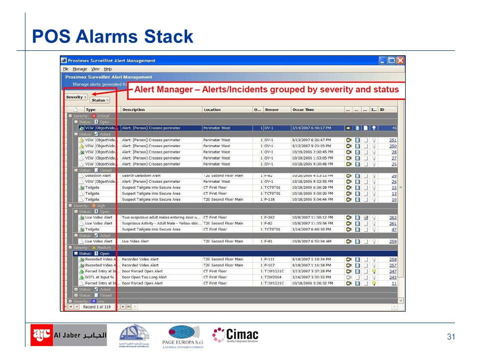 31 POS Alarms Stack