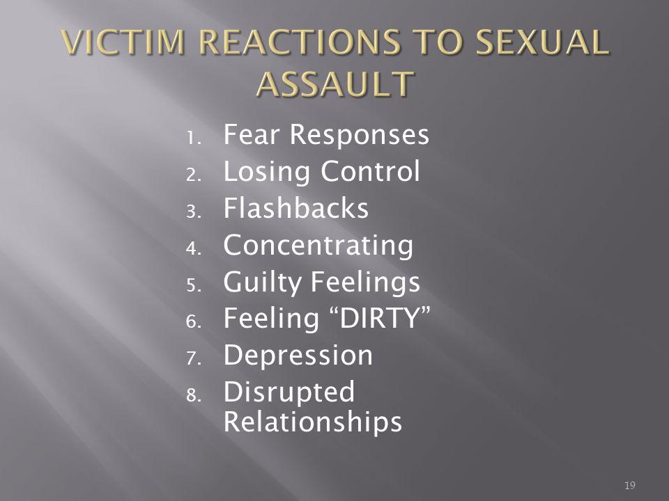 1.Fear Responses 2. Losing Control 3. Flashbacks 4.