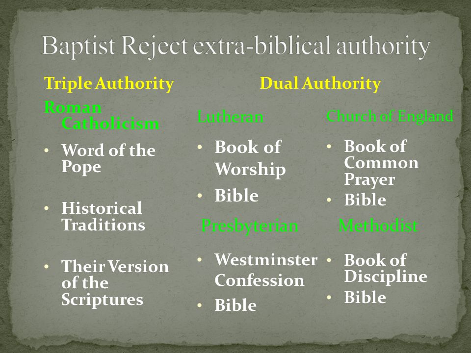 Traditional Christianity Roman Catholic Eastern Orthodox Many main-line Protestant churches Dual Authorities Tradition Word of God When a conflict arises; tradition invariably over-rules the Word of God.