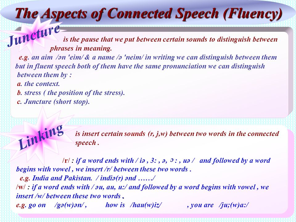 The Aspects of Connected Speech (Fluency) is the pause that we put between certain sounds to distinguish between phrases in meaning. e.g. an aim /ən '