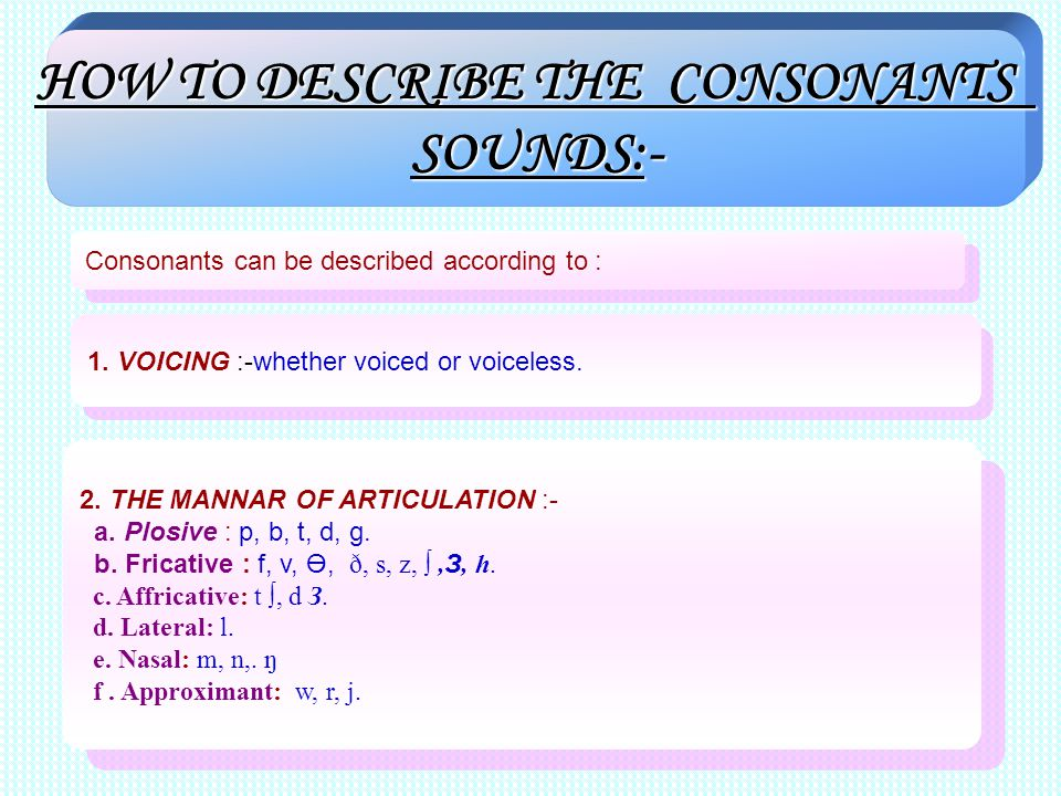 HOW TO DESCRIBE THE CONSONANTS SOUNDS:- Consonants can be described according to : 1. VOICING :-whether voiced or voiceless. 2. THE MANNAR OF ARTICULA