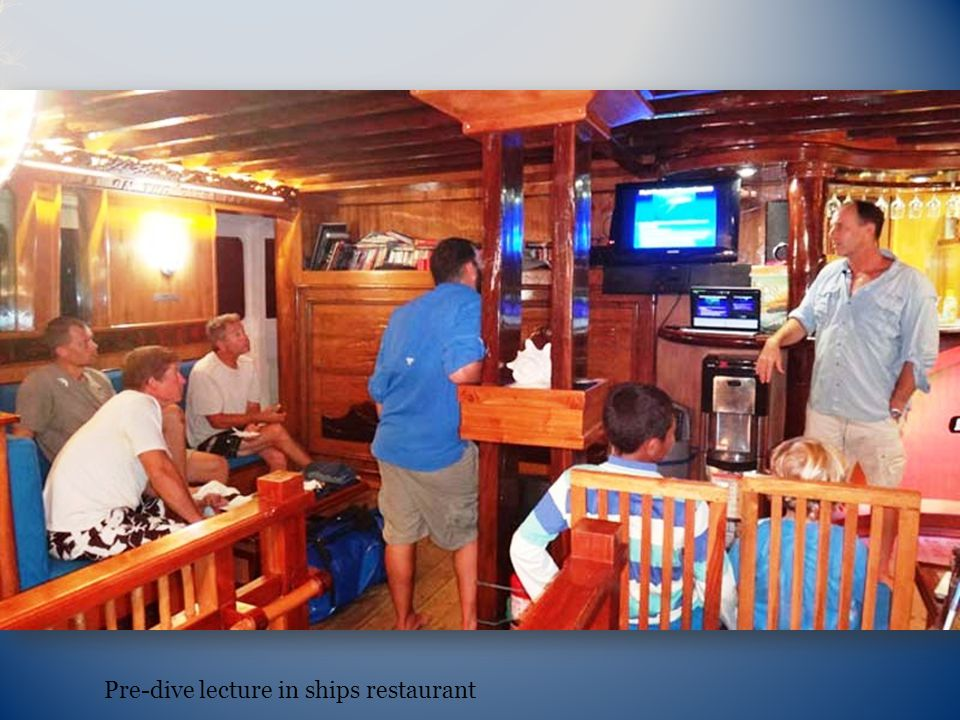 Pre-dive lecture in ships restaurant
