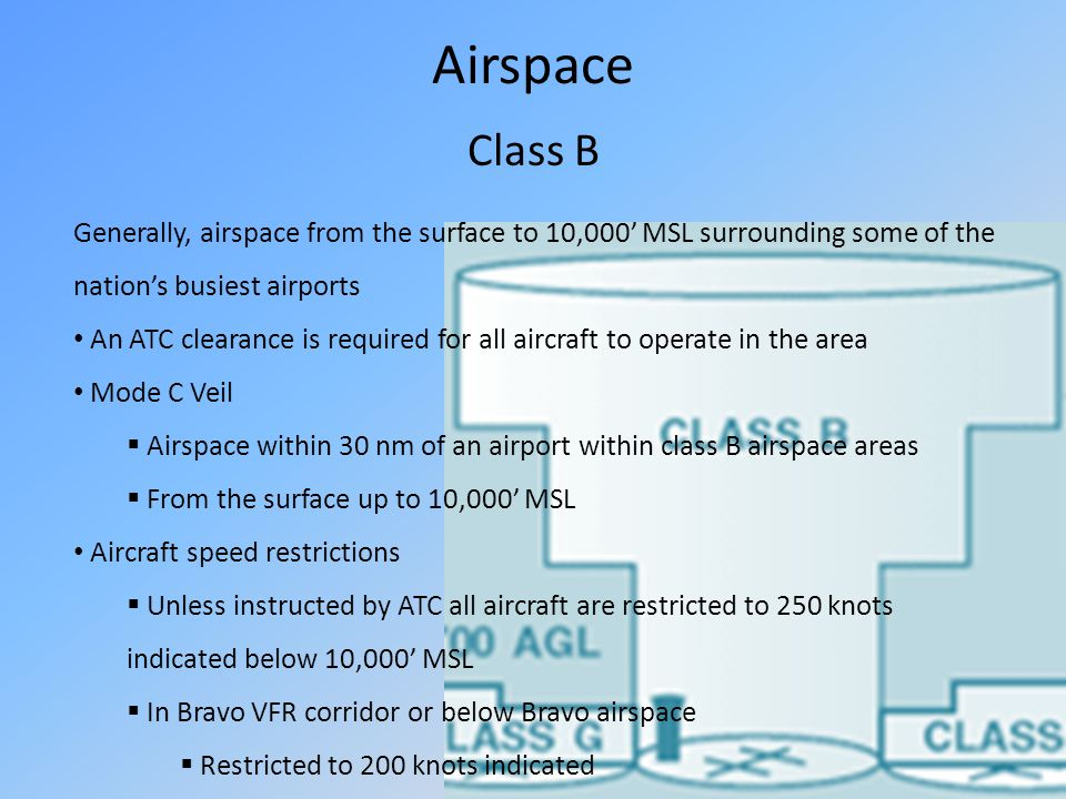 Airspace Class B Generally, airspace from the surface to 10,000 MSL surrounding some of the nations busiest airports An ATC clearance is required for