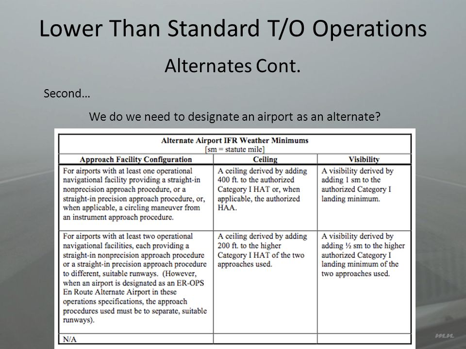 Lower Than Standard T/O Operations Second… We do we need to designate an airport as an alternate? Alternates Cont.