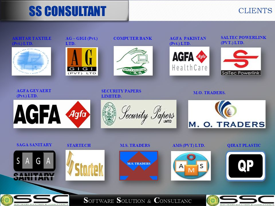Telephone 021-34685710 Email Info@ssconsultant.com.pk Web address www.SSConsultant.com.pk Headquarter Suite # 303, 3 rd floor, Saleem Avenue, Block-13/B, Main University Road Karachi, Pakistan CONTACT US