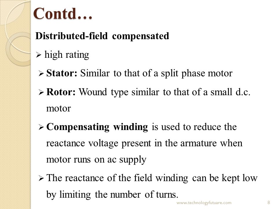 Contd… Distributed-field compensated high rating Stator: Similar to that of a split phase motor Rotor: Wound type similar to that of a small d.c. moto