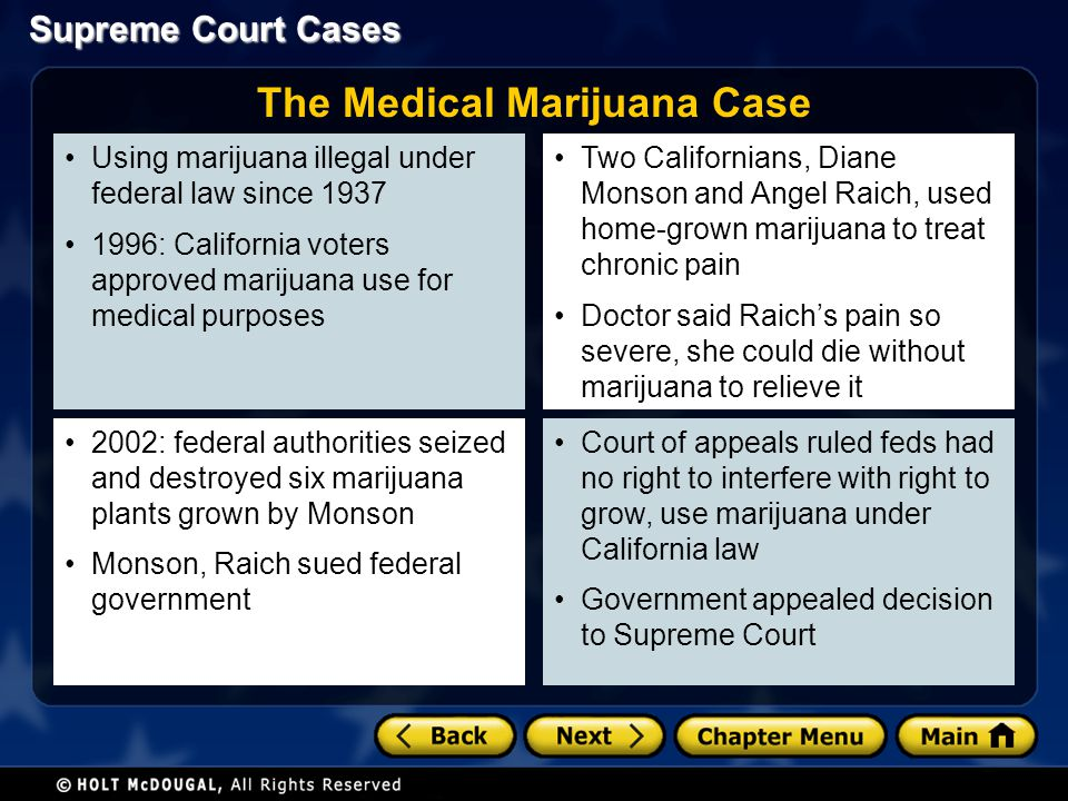 Using marijuana illegal under federal law since 1937 1996: California voters approved marijuana use for medical purposes 2002: federal authorities sei
