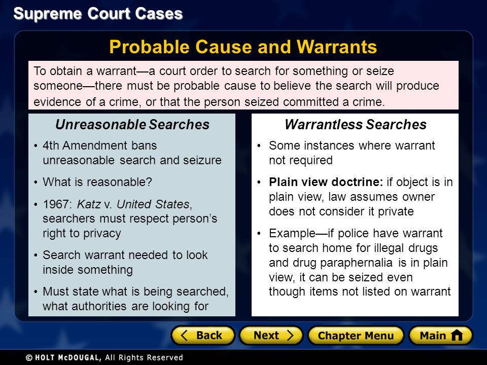 Supreme Court Cases To obtain a warranta court order to search for something or seize someonethere must be probable cause to believe the search will p