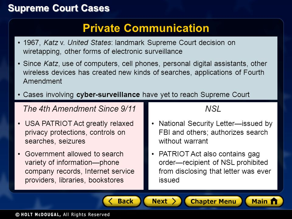 Supreme Court Cases 1967, Katz v. United States: landmark Supreme Court decision on wiretapping, other forms of electronic surveillance Since Katz, us