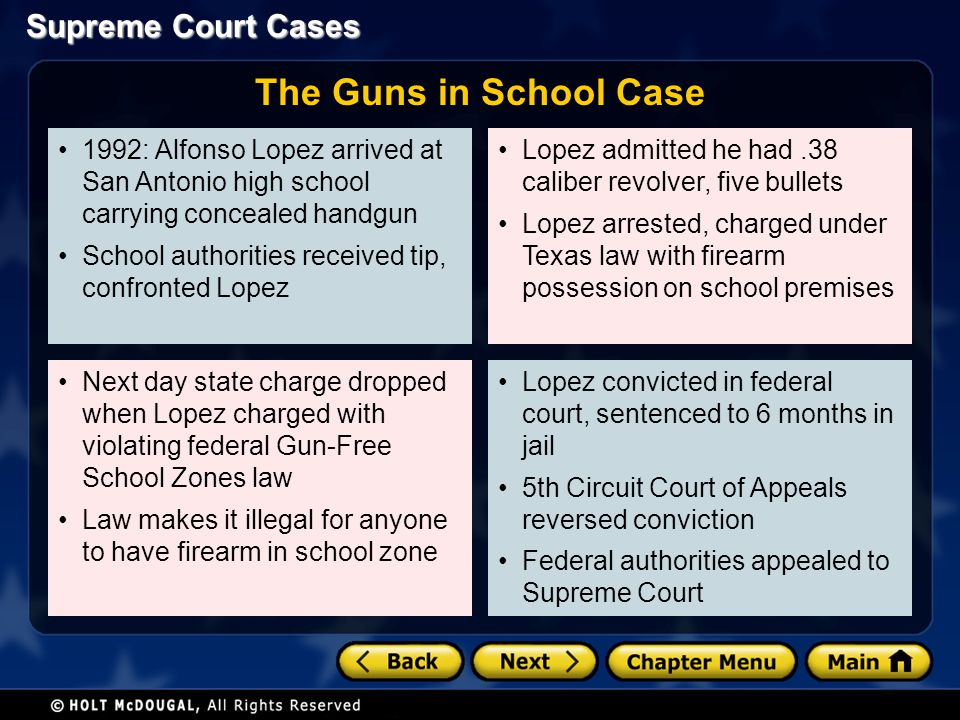 Supreme Court Cases 1992: Alfonso Lopez arrived at San Antonio high school carrying concealed handgun School authorities received tip, confronted Lope