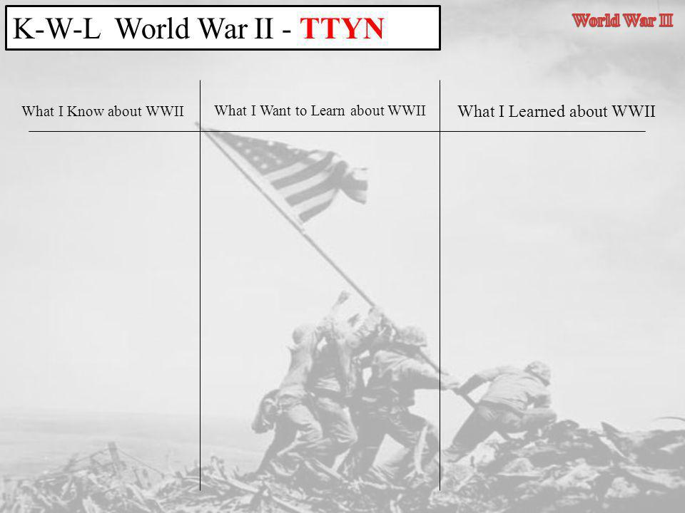 What I Know about WWII What I Learned about WWII What I Want to Learn about WWII K-W-L World War II - TTYN