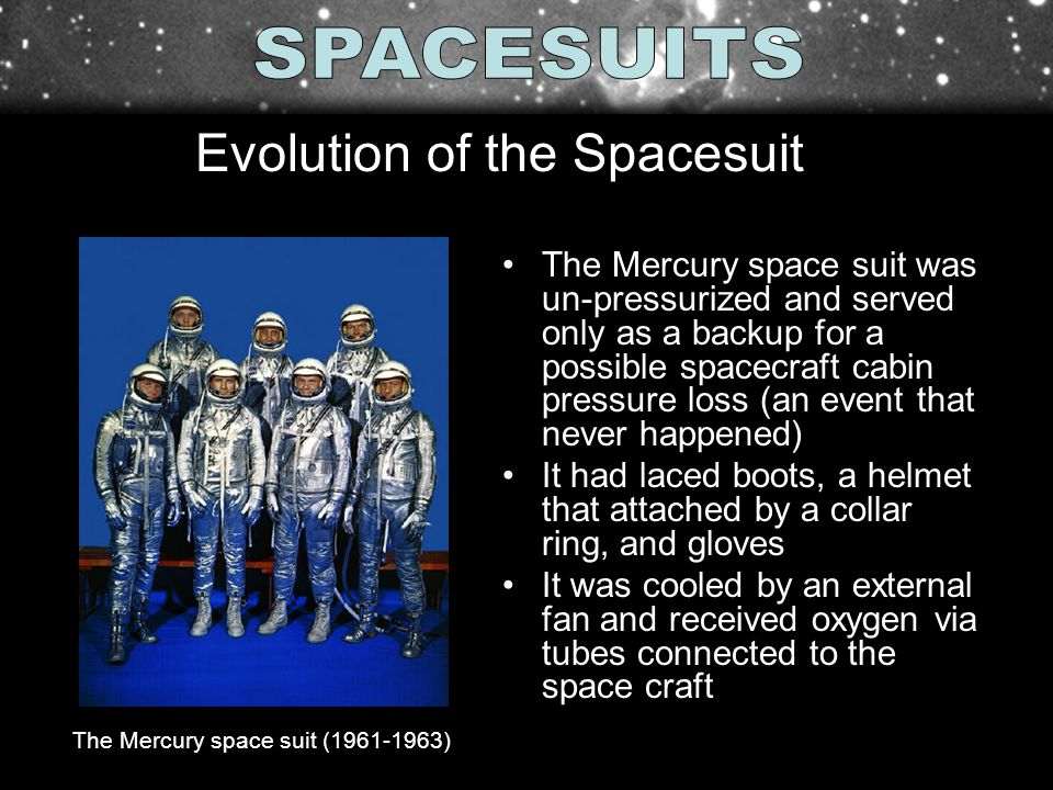 The Mercury space suit was un-pressurized and served only as a backup for a possible spacecraft cabin pressure loss (an event that never happened) It had laced boots, a helmet that attached by a collar ring, and gloves It was cooled by an external fan and received oxygen via tubes connected to the space craft The Mercury space suit ( ) Evolution of the Spacesuit