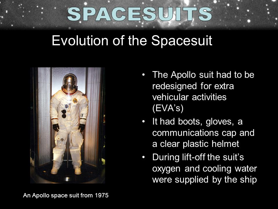The Apollo suit had to be redesigned for extra vehicular activities (EVAs) It had boots, gloves, a communications cap and a clear plastic helmet Durin