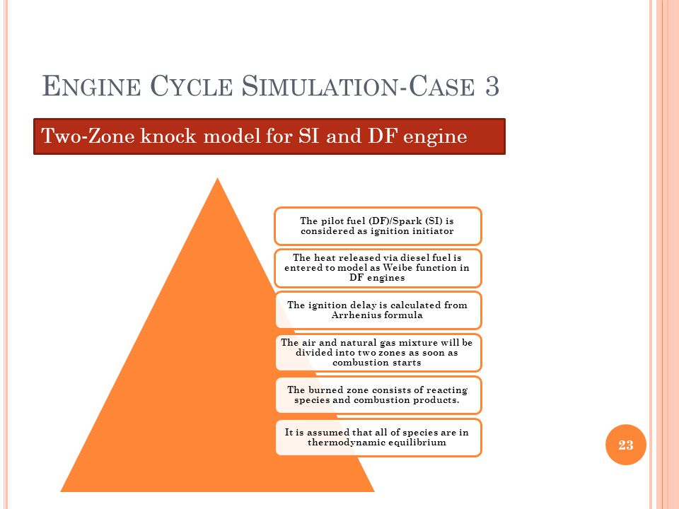 E NGINE C YCLE S IMULATION -C ASE 3 Two-Zone knock model for SI and DF engine 23 The pilot fuel (DF)/Spark (SI) is considered as ignition initiator Th