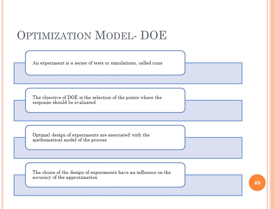 O PTIMIZATION M ODEL - DOE An experiment is a series of tests or simulations, called runs The objective of DOE is the selection of the points where th
