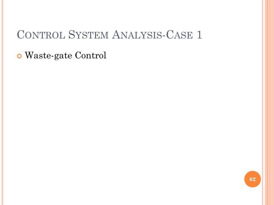 C ONTROL S YSTEM A NALYSIS -C ASE 1 Waste-gate Control 62