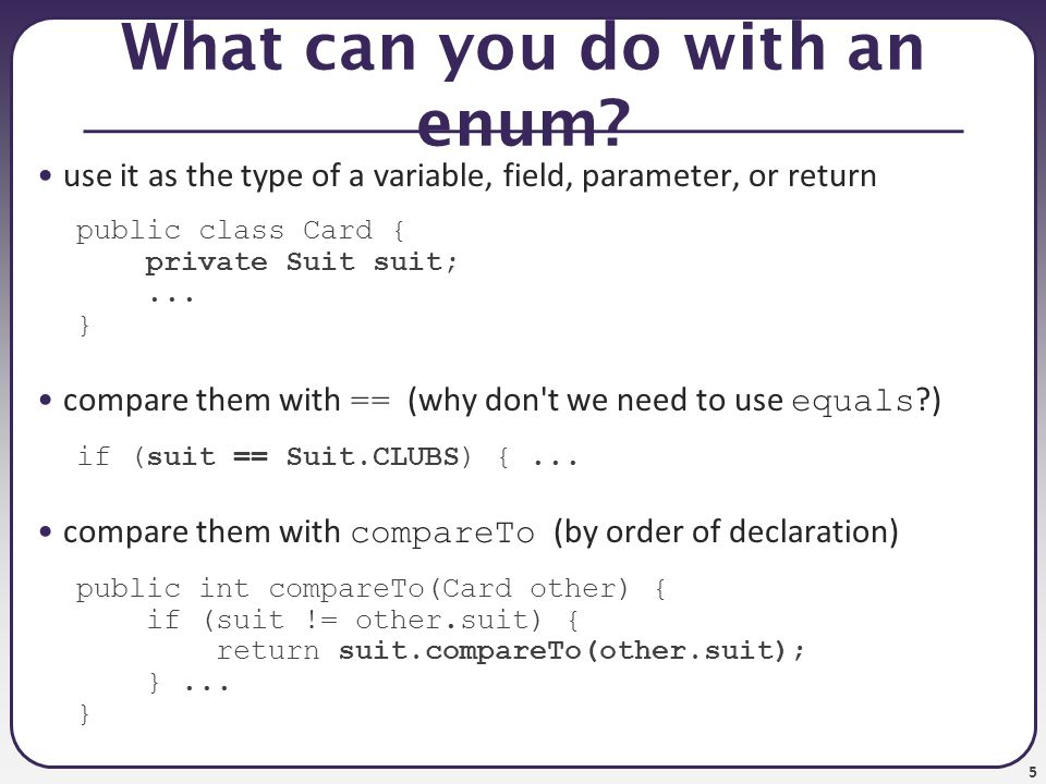 6 The switch statement switch ( boolean test ) { case value : code ; break; case value : code ; break;...