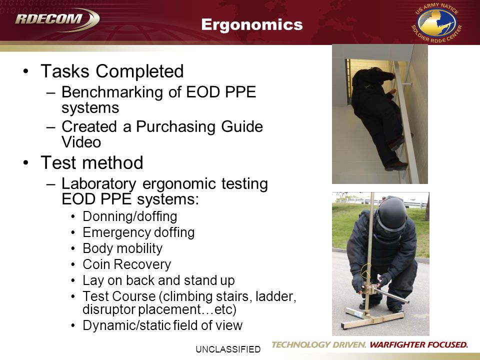 UNCLASSIFIED Ergonomics Tasks Completed –Benchmarking of EOD PPE systems –Created a Purchasing Guide Video Test method –Laboratory ergonomic testing EOD PPE systems: Donning/doffing Emergency doffing Body mobility Coin Recovery Lay on back and stand up Test Course (climbing stairs, ladder, disruptor placement…etc) Dynamic/static field of view