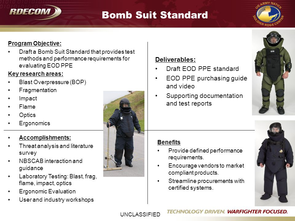 UNCLASSIFIED Bomb Suit Standard Program Objective: Draft a Bomb Suit Standard that provides test methods and performance requirements for evaluating EOD PPE Key research areas: Blast Overpressure (BOP) Fragmentation Impact Flame Optics Ergonomics Deliverables: Draft EOD PPE standard EOD PPE purchasing guide and video Supporting documentation and test reports Benefits Provide defined performance requirements.