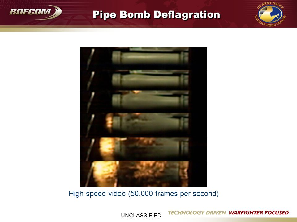 UNCLASSIFIED High speed video (50,000 frames per second) Pipe Bomb Deflagration