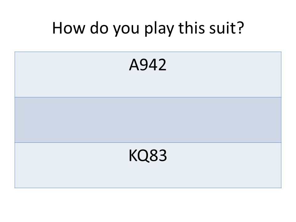 How do you play this suit? A942 KQ1073