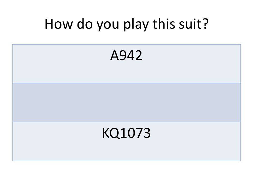 How do you play this suit A942 KQ1073