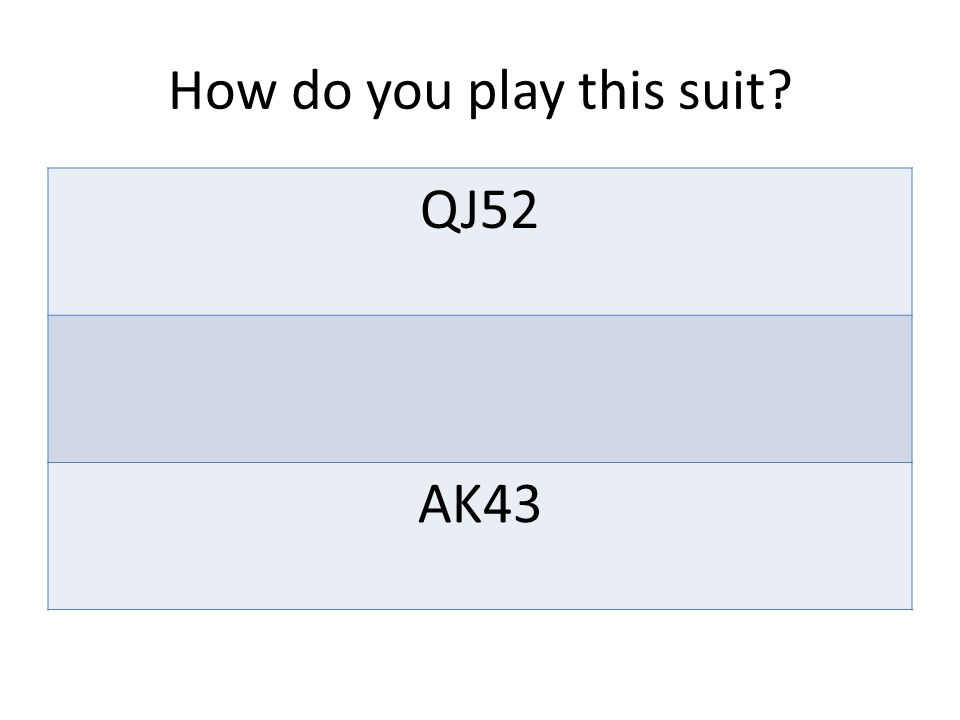 How do you play this suit QJ52 AK43