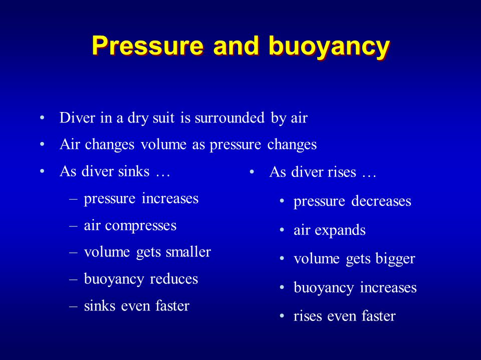 Pressure and buoyancy Controlling the suit … –Inflate on descent to avoid squeeze and slow rate of sink –Vent air on ascent to slow rate of rise Note how easy it is to lose control … –Vicious circle during both sinking and rising –Rate of sink/rise increases if not corrected –Biggest pressure & buoyancy changes near the surface