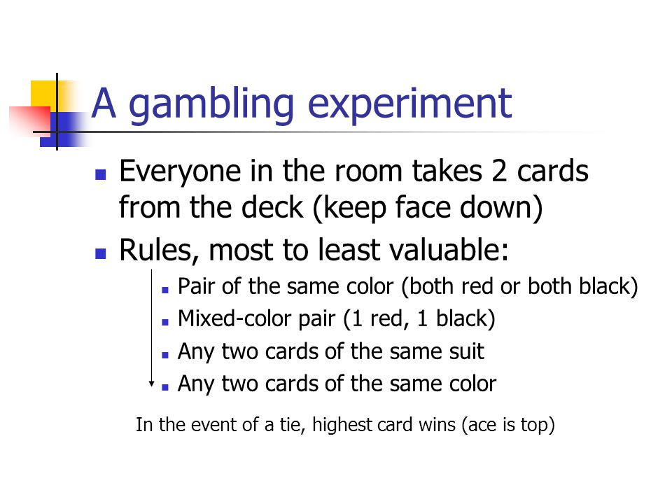 A gambling experiment Everyone in the room takes 2 cards from the deck (keep face down) Rules, most to least valuable: Pair of the same color (both red or both black) Mixed-color pair (1 red, 1 black) Any two cards of the same suit Any two cards of the same color In the event of a tie, highest card wins (ace is top)