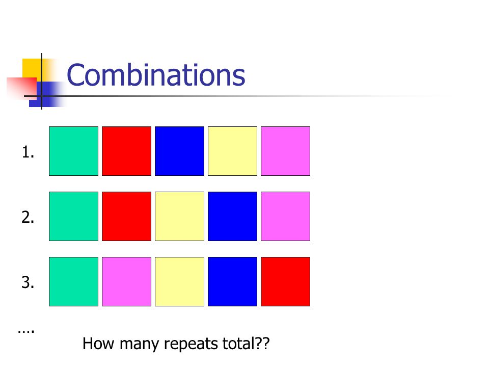 Combinations How many repeats total ….