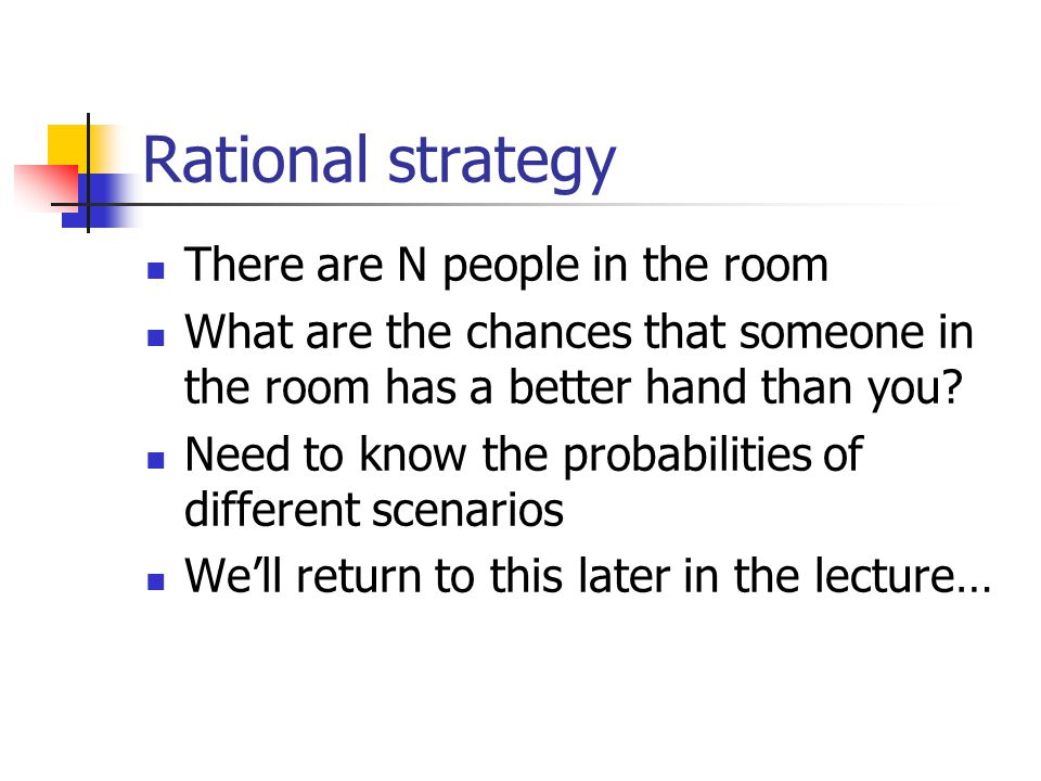 Rational strategy There are N people in the room What are the chances that someone in the room has a better hand than you.